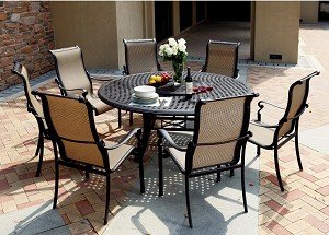 "Patio Furniture Aluminum/Sling Dining Set 71"" Round Table 7pc Monterey"