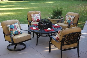 "Patio Furniture Deep Seating Club Chair Cast Aluminum Ensemble 52"" Fire Pit Table 5pc Lisse"
