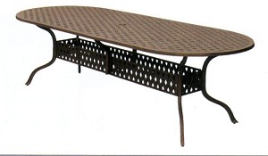 "Patio Furniture Table Dining Cast Aluminum 102"" Oval Series 30"