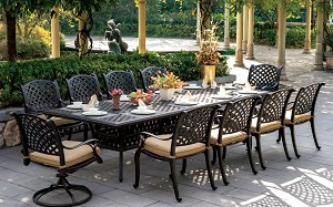 "Patio Furniture Dining Set Cast Aluminum 120"" Rectangular Table 11pc Nassau"