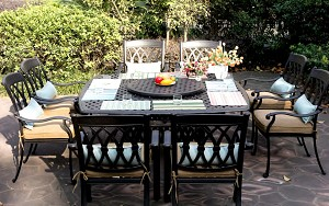 "Patio Furniture Dining Set Cast Aluminum 64"" Square Table 9 pc San Marcos"