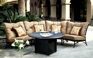 Patio Furniture Deep Seating Sectional Cast Aluminum Set Crescent 5pc Santa Anita