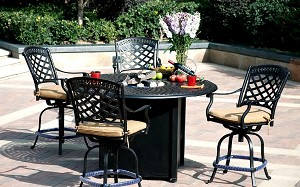"Patio Furniture Dining Set Cast Aluminum 60"" Round Counter Height Propane Fire Pit Table 5pc Sedona"