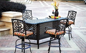 Patio Furniture Party Bar Cast Aluminum Bar Stool Set 5pc Santa Barbara