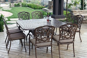 "Patio Furniture Dining Set Cast Aluminum 60"" Square Table 9pc Florence"