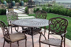 "Patio Furniture Dining Set Cast Aluminum 48"" Round Table 5pc Florence"