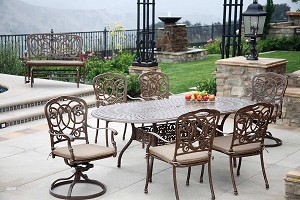 "Patio Furniture Dining Set Cast Aluminum 84"" Oval Table 7pc Florence"