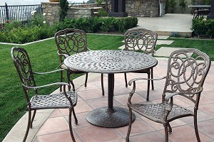 "Patio Furniture Dining Set Cast Aluminum 42"" Round Pedestal Table 5pc Florence"