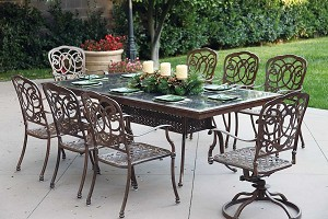 "Patio Furniture Dining Set Cast Aluminum 91"" Rectangular Granite Top Table 9pc Florence"