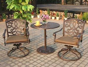 """Patio Furniture Bistro Set Cast Aluminum 30"""" Table 3pc ..."""