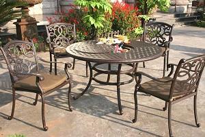 """Patio Furniture Dining Set Cast Aluminum 52"""" Round Table ..."""