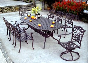 "Patio Furniture Dining Set Cast Aluminum 102"" Oval Table 9pc Santa Monica"