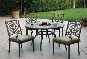 "Patio Furniture Dining Set Cast Aluminum 52"" Round Table w/Ice Bucket 5pc Santa Barbara"