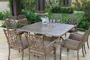 "Patio Furniture Dining Set Cast Aluminum 60"" Square Table 9pc Santa Barbara"