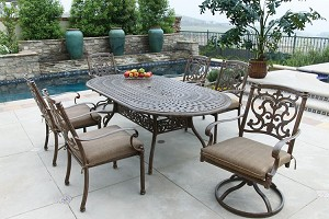 "Patio Furniture Dining Set Cast Aluminum 84"" Oval Table 7pc Santa Barbara"