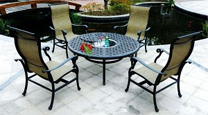 Patio Furniture Cast Aluminum/Sling Chat Group Ice Bucket Table 5pc Summit