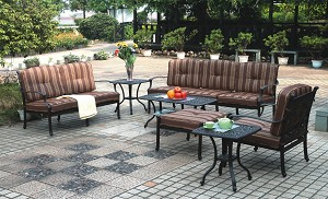 Patio Furniture Deep Seating Set Cast Aluminum 7pc Monarch