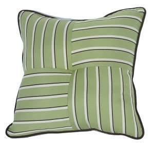 "Quilted Throw Pillow Indoor/Outdoor 24"" Square Sunbrella Stripe with Cording"