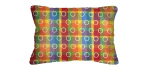 Lumbar Pillows in Sunbrella Rings Over Rainbow 7203-0002/Canvas Vellum 5498 (Set/2)