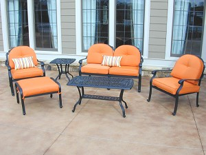 Patio Furniture Deep Seating Set Cast Aluminum 6pc Lisse