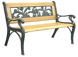 Patio Furniture Bench Traditional Kiddie Cast Iron Wild Life