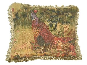 "Aubusson Pillows - Pheasants (23"" x 19"")"